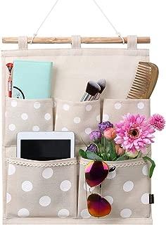 Homecube Linen Cotton Fabric Wall Door Cloth Hanging Storage Bag Case 5 Pocket Home Organizer (White Polka Dots)