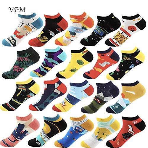 Algodón Moda Colorida Cool Mujeres Y Hombres Calcetines De Barco Harajuku Hip Hop Novedad Dibujos Animados Lindos Calcetines Divertidos Con Zapatillas Regalos De Verano, Color Aleatorio, Eu 37-44