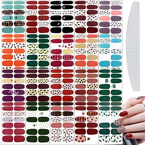 20 Sheets Full Wrap Nail Polish Stickers Self-Adhesive Nail Art Decals Strips Manicure Kits Nail Art Designs with Nail Files for Women Girls DIY Nail Art Decoration (Pure Style) (03)