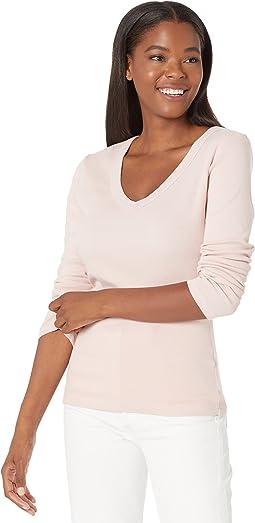 Layla 1X1 Cotton Long Sleeve V-Neck Tee