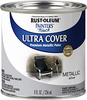 Rust-Oleum 240288 Paint'er's Touch Satin Silver Metallic HP Interior Paint, 1/2 Pint