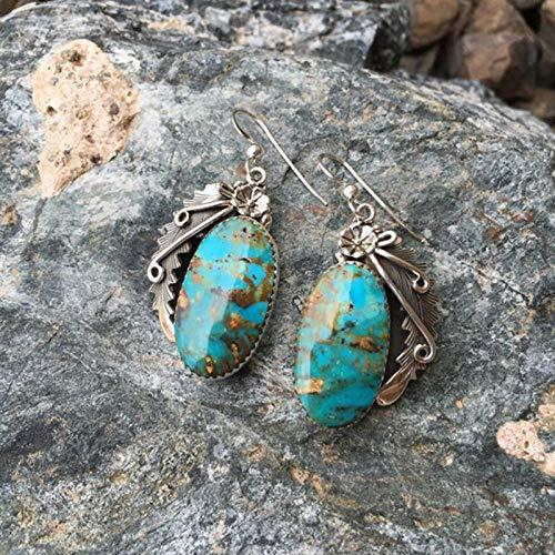 Erin Earring Pendientes De Plata Tibetanos De Mujer India Minoritaria Pendientes Colgantes De Turquesa para Mujer Joyería Bohemia Vintage 5M002