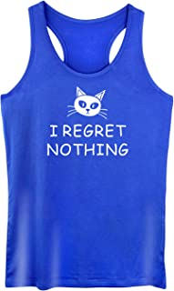 GROWYI Funny Workout Tank Top for Women with Saying I Regret Nothing Graphic Cat Fitness Racerback Gym Sleeveless Shirts