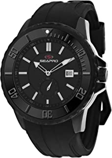 Seapro Men's Force Stainless Steel Automatic Rubber Strap, Black, 24 Casual Watch (Model: SP0513)