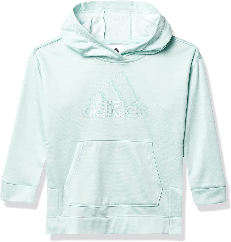adidas Girls' Badge of Sport Mélange Fleece Pullover Hoodie, Halo Mint Heather, 6 Little Kids