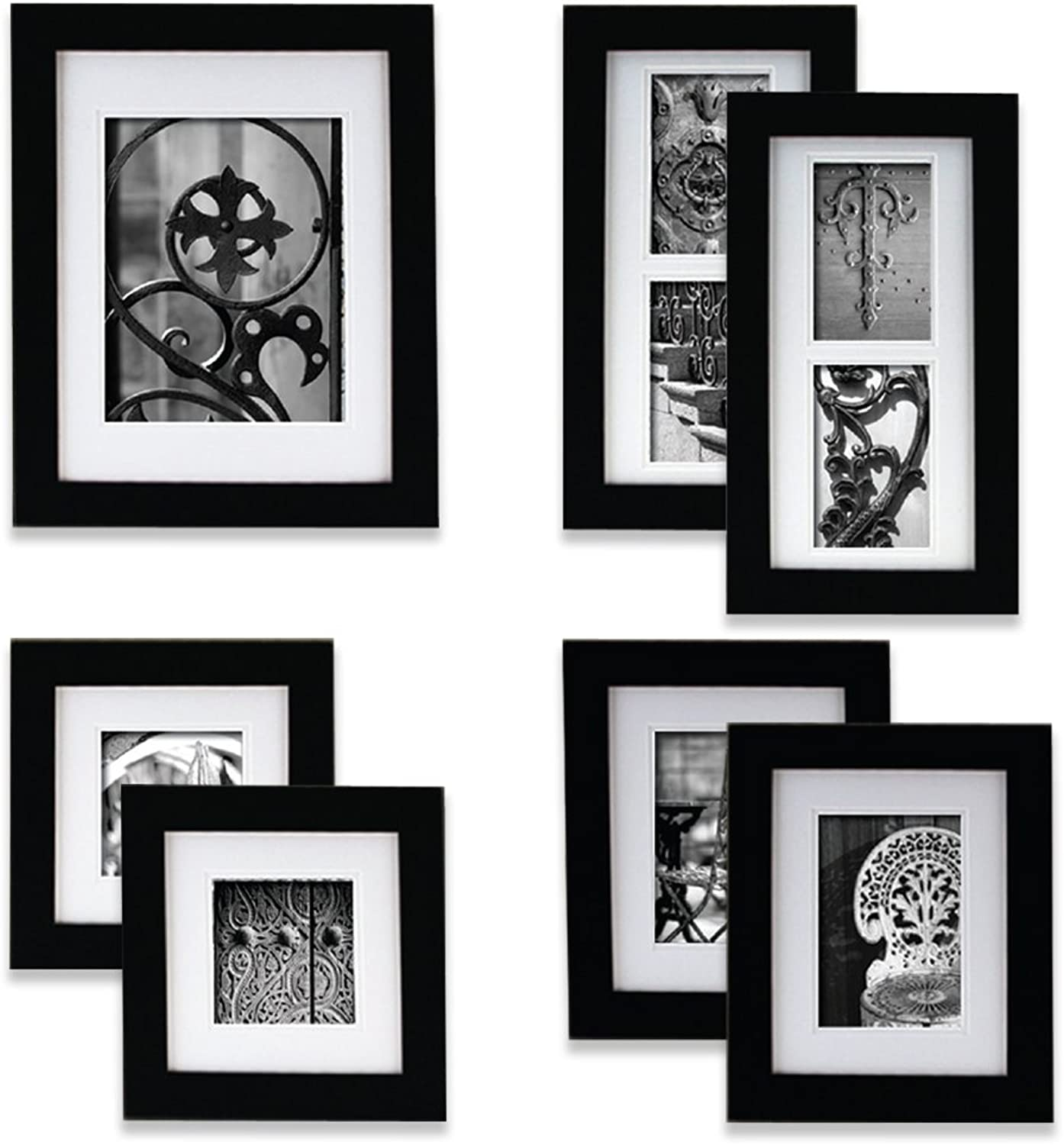 Gallery Perfect 7 Piece Black Wood Photo Frame Wall Gallery Kit. Includes  Frames, Hanging Wall Template, Decorative Art Prints and Hanging Hardware