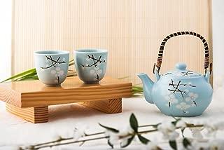 Japanese Soshun Cherry Blossom Sakura Sky Blue Tea Set Ceramic Teapot with Rattan Handle and 2 Tea Cups