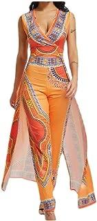 RkYAO Women Floral V-Neck African Dashiki Ethnic Sleeveless Jumpsuit Pants