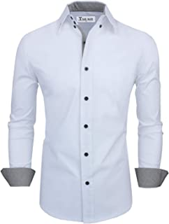 Men's Classic Slim Fit Contrast Inner Long Sleeve Dress Shirts