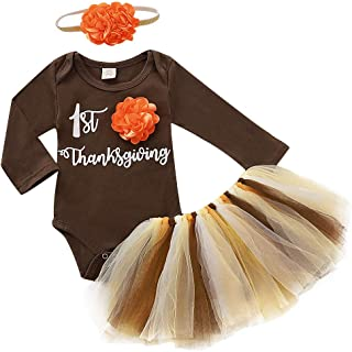 MODNTOGA Thanksgiving Infant Outfits Baby Girls Long Sleeves Romper + Tutu Skirts +Headband 3PCS Brown Clothes Sets