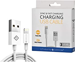 Everycom USB 2.0 Lightning Charging Cable Cord Compatible with iPhone, iPad, iPod - White (100 CM) (3 Months Warranty)