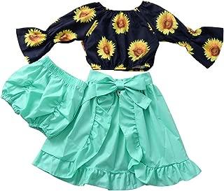 BOIZONTY Toddler Baby Girls Sunflower Fly Sleeve Off Shoulder Top +Green Irregularity Maxi Skirts+Bowknot Headband Clothes Set (Sunflower Green, 5-6 Years)