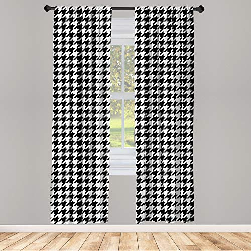 """Ambesonne Modern Window Curtains, Illustration of Bizarre Shapes Houndstooth Inspired Graphics, Lightweight Decorative Panels Set of 2 with Rod Pocket, 56"""" x 63"""", Charcoal Grey"""