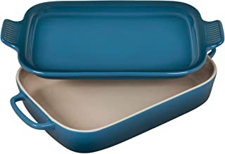 Le Creuset Heritage Casserole Stoneware Rectangular Dish with Platter Lid, 14 3/4 inch x 9 inch x 2 1/2 inch, Deep Teal, ...