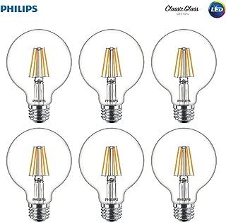 Philips LED Indoor/Outdoor G25 Clear Glass Dimmable Filament Light Bulb with Warm Glow Effect: 350-Lumen, 2700-2200 Kelvin, 5-Watt (40-Watt Equivalent), E26 Medium Base, Soft White, 6-Pack