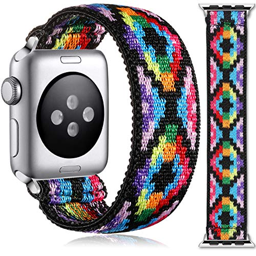 Muranne Stretchy Band Compatible with Apple Watch SE 38mm 40mm for Women Girls, Fancy Stretch Loop Strap Elastic Scrunchy Wristbands for iWatch Series 6 5 4 3 2 1, 38mm/40mm Medium, Colorful Print