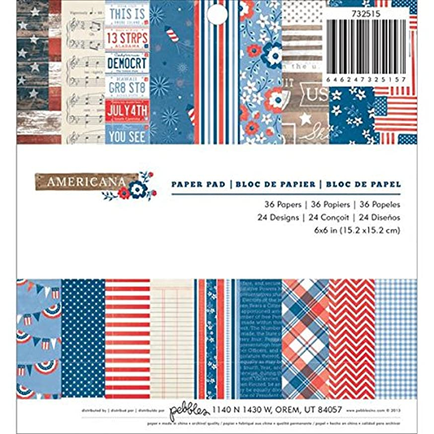 Pebbles 36-Sheet Americana Paper Pad, 6 by 6-Inch