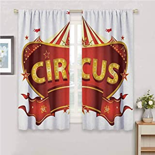 GUUVOR Circus for Bedroom Blackout Curtains A Circus Sign Baroque Style Big Top Enjoyment Theme Marquee Nightlife Retro Blackout Curtains for The Living Room W63 x L72 Inch Gold White Red