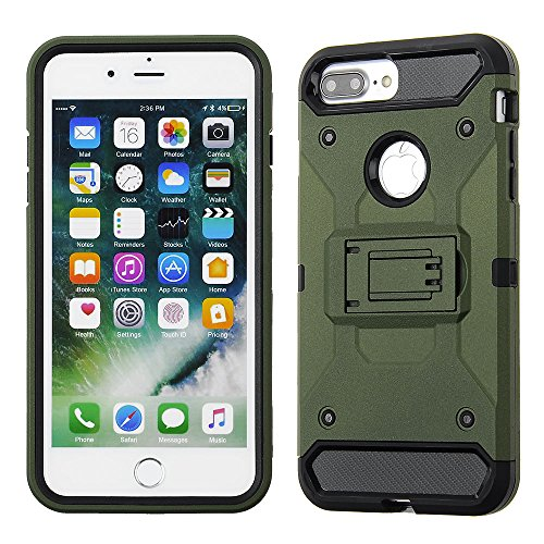 Cube Apple iPhone 8 Plus/7P/6s P/6P - Army Green Kickstand with Black TPU Front Bumper Combo Case