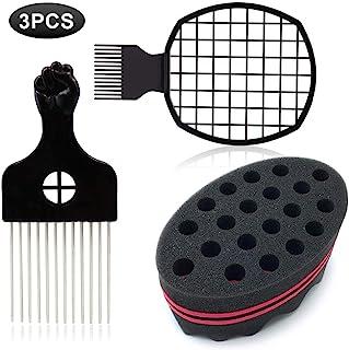 1 Pack Afro Hair Sponge Barber Brush Sponge, 1 Pack Metal Hair Pick Comb for Afro Hair with 1 Pack Afro Hair Twist Curl Comb for Barber Hair Styling