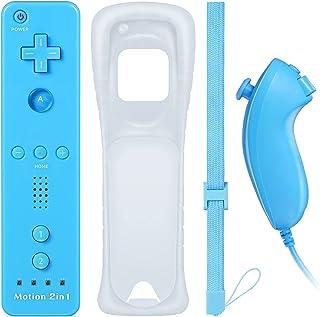 Wiiリモコン プラス Wii コントローラー セット ヌンチャク Wiiモーションプラス スピーカーCMOS機能付き WiiU Wii 対応 コントローラー Wiiリモコンジャケット なし(青)