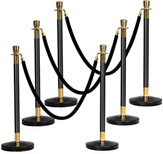 Goplus 6pcs Stanchion Set, Crowd Control Barrier Stainless Steel Stanchion Posts Queue Pole with 5Ft Velvet Rope, Suitable for Theaters, Party, Wedding Exhibition Centers, Ticket Offices (Black)