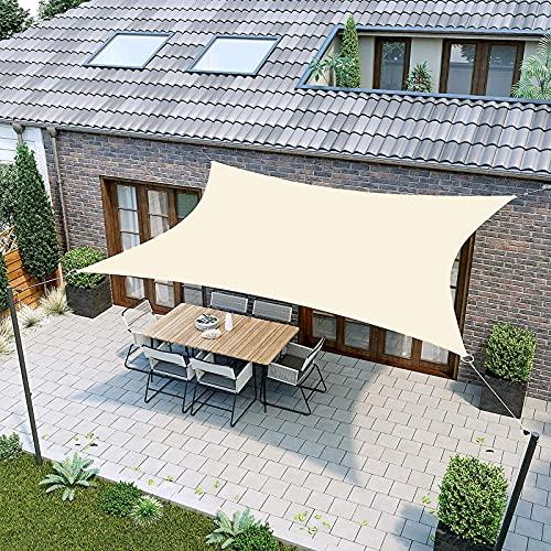 IBIZSAIL Markise Wasserdicht 95% UV Sonnenschutz - Gebogenes Rechteck - Geeignet für Garten、 Balkon、 Outdoor - Zitronengelb - 400 x 300 cm