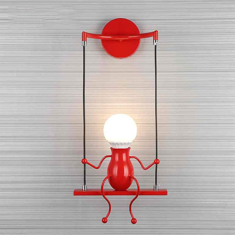 Modern Wandlampe Vintage LED Kinder Cartoon Wandleuchte Metal Schaukel Wandbeleuchtung Innen Lampe 1-flammig E27 Licht für Kinderzimmer Schlafzimmer Flur Hotel Bad Esszimmer Licht 14H48cm (Rot)