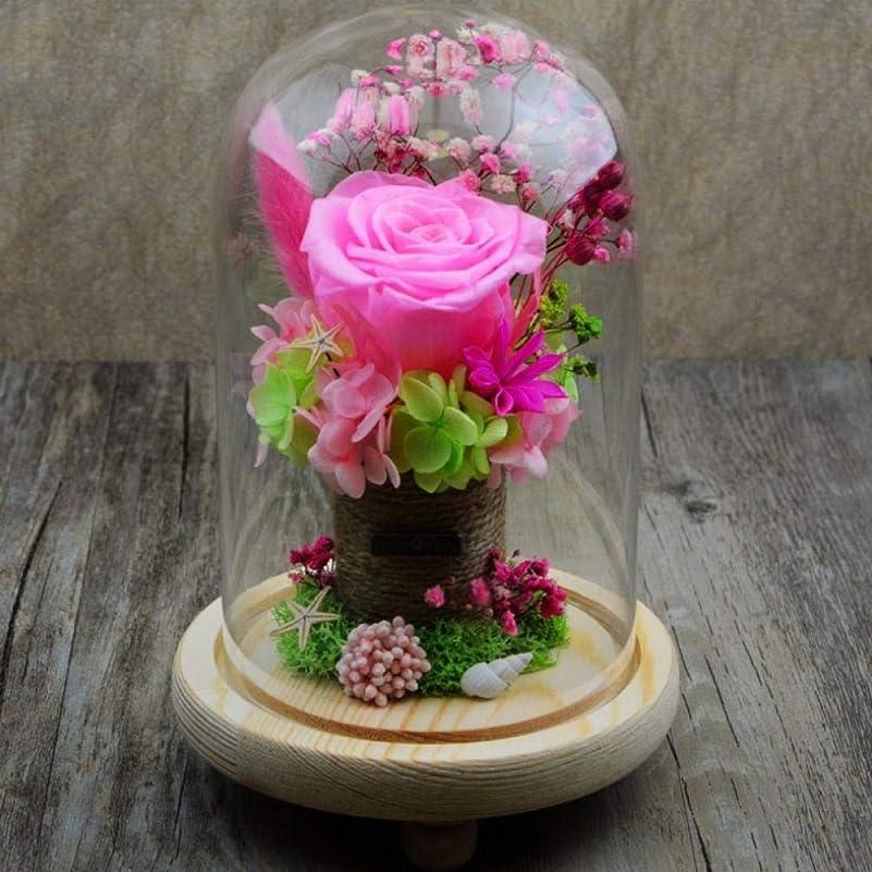 ボンドボウリングケーブルカーBATWATY プリザーブドフラワーは、新鮮なガラスドームバレンタインデー結婚式母の日記念日誕生日の感謝祭、クリスマスピンクの花で永遠の花バラ永遠のバラを保存しました 母の日のプレゼント