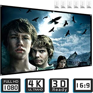 Projector Screen,Tontion 100 inch 16:9 HD Projection Screen,Wide-Angle Projection Screen,Widescreen Portable Projection Moive Screen for Home and Outdoor, Double-Sided Projection