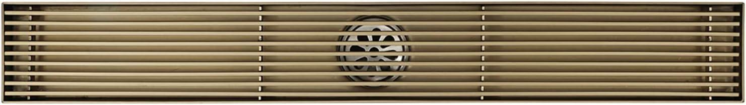 600mm /× 68mm ,Bronce Piso Lineal de Ducha Rect/ángulo Drenaje de Ducha Lineal Acero Inoxidable Canaleta de Ducha Desodorante Drenaje de Piso para Ba/ño Shower Set Desag/üe de Ducha Lineal