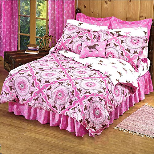 Country Livivng Girls 8 Piece Queen Size(86'x86') Pink Brown Pony Horse Bandana Equestrian Bedding Comforter Set & Sheets (Bed in a Bag) (1, Queen Size)