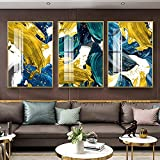 Póster de Pared Abstracto Lámina Dorada Amarilla Azul Marino Impresión de Lienzo nórdico Bloques de Colores Arte Pintura Imágenes Sala de Estar Decoración del Hotel / 50x70cmx3 / Sin Marco