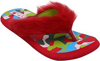 D'chica Chic Mismatch Fur Trimmings Slippers for Girls
