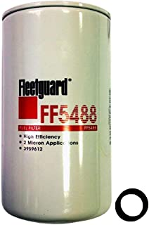 "Fleetguard FF5488 Fuel Filter For Cummins 3959612, 98.7% Efficiency, 5-Micron Rating, 7/8-14 UNF-2B Thread Size, 6.92""H x 3.68""OD"