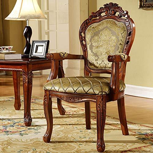 Esszimmerstuhl Stoff geschnitztem Stuhl Europäisches Dining Chair amerikanischen Holzstuhl Sessel 2 Stück Multi-Raumnutzung (Farbe : Braun, Size : 52x50x106cm)