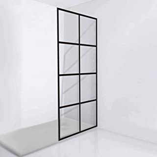 Fab Glass and Mirror GSD-34-72ORB Madeira French Style Grid Pattern Glass Shower Door, Matte Black