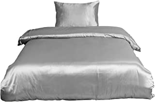 uxcell Soft Silky Satin Solid Color 2-Piece Bedding Set - 1 Duvet Cover and 1 Pillow Sham - Satiny and Classy Silk Like Duvet Cover Sets with Hidden Zipper Closure Twin Size Gray