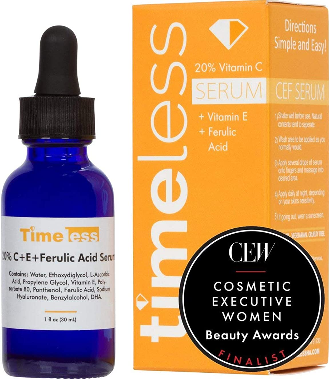正しい電球ガラガラTimeless Skin Care 20% Vitamin C + E Ferulic Acid Serum 30ml /1oz - Sealed & Fresh Guaranteed! Dispatch from the UK