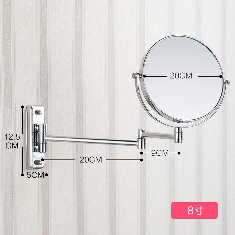 出口昇進野生照明付き化粧鏡 8.66インチ3倍拡大壁マウント化粧鏡バスルームミラー両面回転ポリッシュクローム仕上げ 化粧鏡 (Size : 8inches 3X)