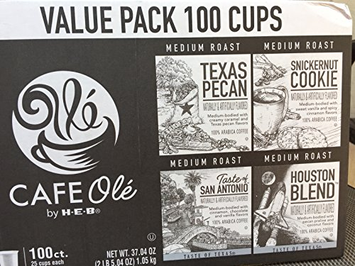 100 cups- Cafe Ole Value Pack-Texas Pecan, San Antonio, Houston, and Snickernut--100 cups