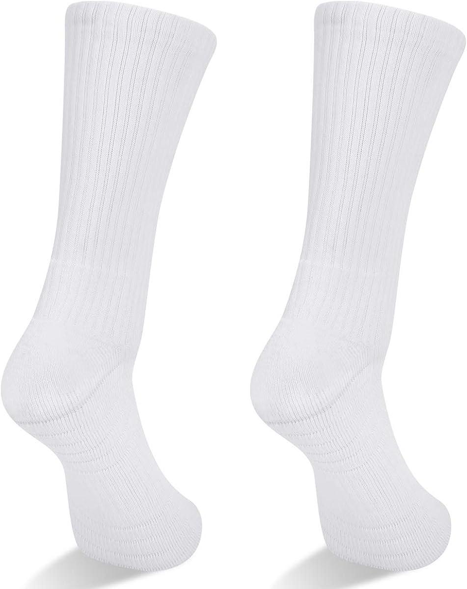 YUEDGE Womens Hiking Walking Socks 5 Pairs Anti Blister Cotton Cushion Athletic Sports Crew Socks For Ladies Year Round
