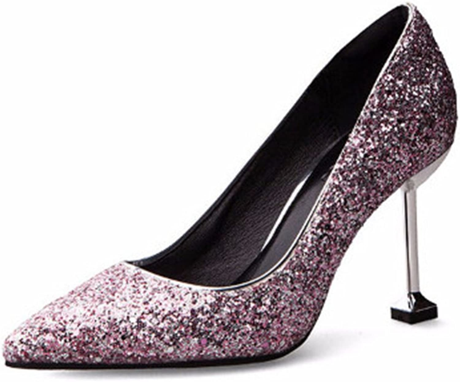 MIKA HOM Women's High Heels,Pointed Toe Patent Pumps shoes for Ladies Party Dress