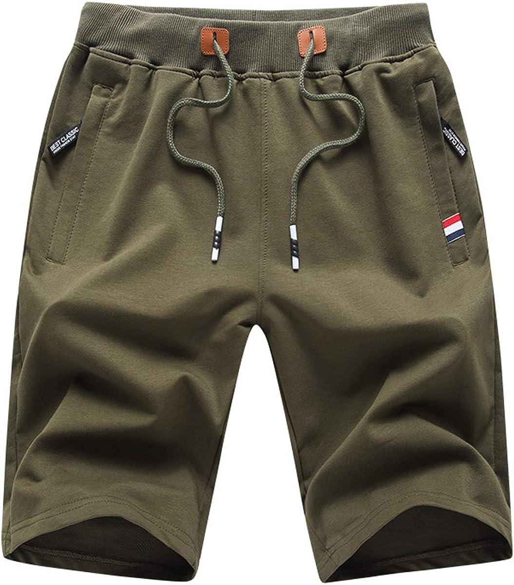 JustSun Mens Shorts Max 52% OFF Casual Sports Waist with Max 78% OFF Pock Zipper Elastic