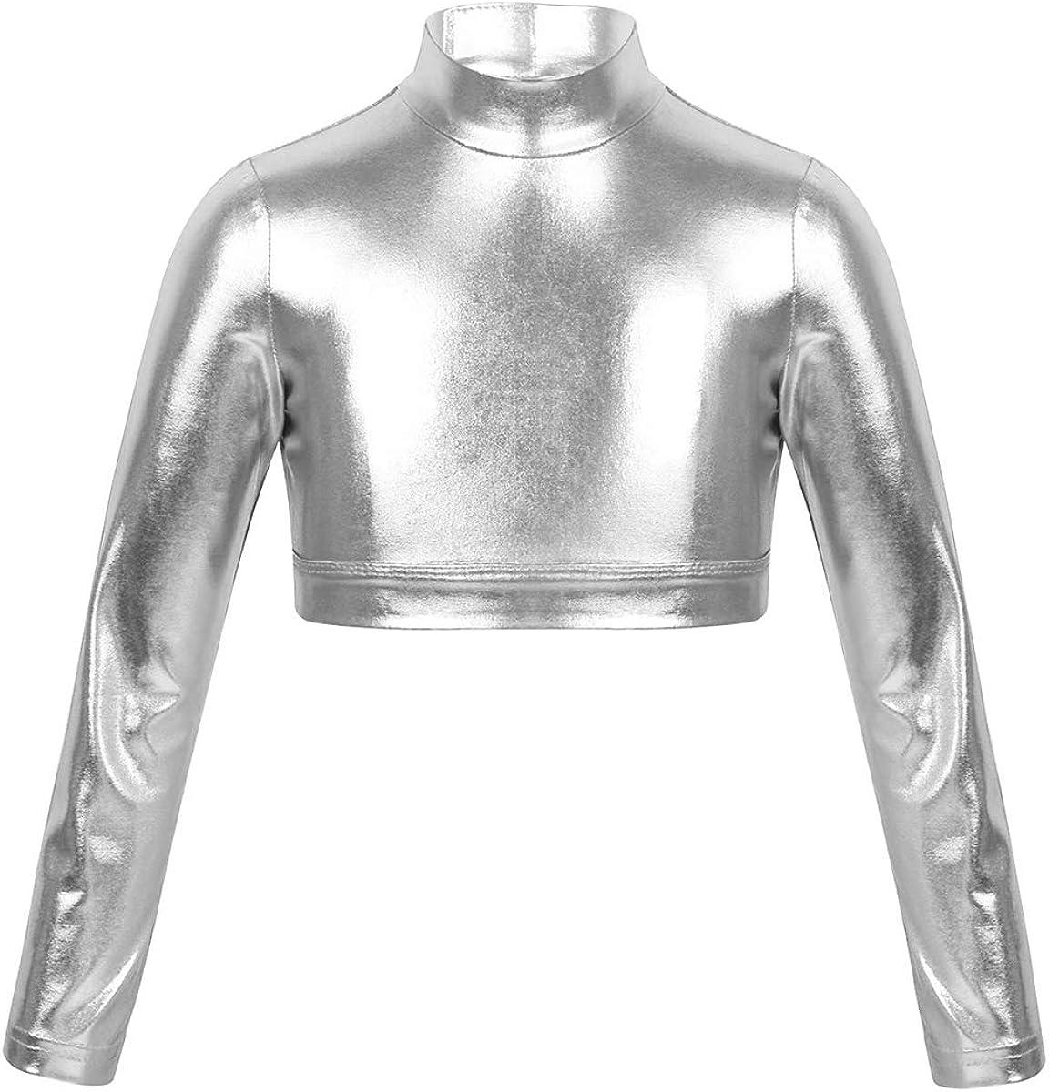 iiniim Kids Girls Mock Turtleneck Crop Top Metallic Shiny Long Sleeve Tank Top T-Shirt Dance Leotard 3/4 Sleeve Black