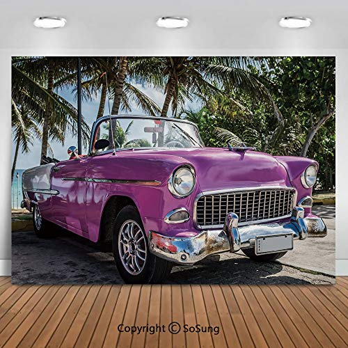 8x6Ft Vinyl Cars Backdrop for Photography,Classic Colored Cabriolet Car Parked on the Beach in Cuba Seaside Exotic Trees Print Decorative Background Newborn Baby Photoshoot Portrait Studio Props Birth