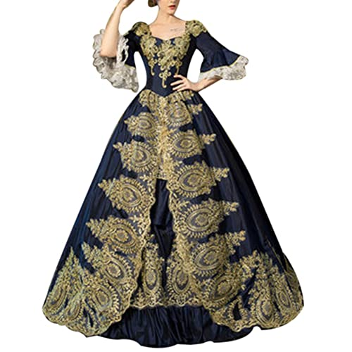 41b61080f55 ROLECOS Womens Royal Retro Medieval Renaissance Dresses Lady Satin  Masquerade Dress