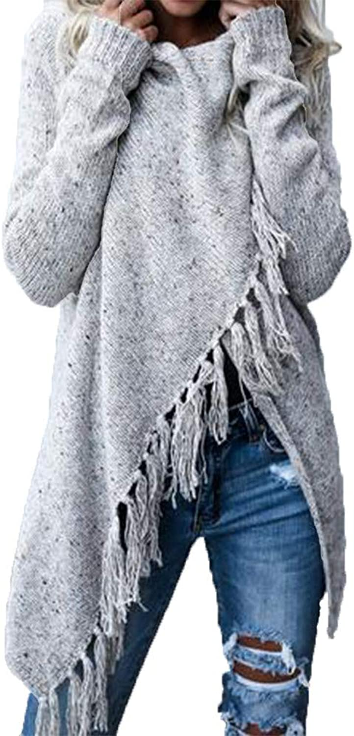 Blanycool Womens Cardigan Sweaters Tassel Fringe Open Front Loose Chunky Wrap Knit Coats Cape
