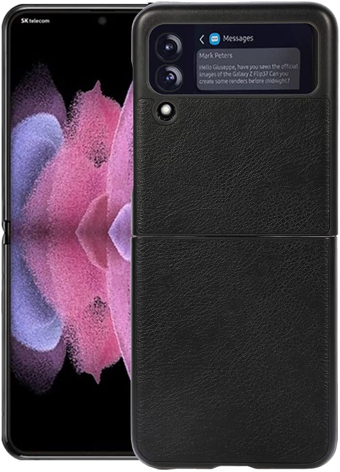 Ranyi for Samsung Galaxy Z Flip 3 5G Case, Ultra Slim Thin Leather Texture Case Shock Absorbing Full Body Protective Flexible Leather Bumper Case for for Samsung Galaxy Z Flip 3 5G 2021 -Black