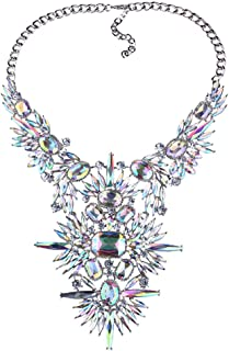 Fashion Chunky Statement Necklace Crystal Bib Collar Choker Novelty Costume Jewelry for Women with Gift Box 2 Colors 1 Pc